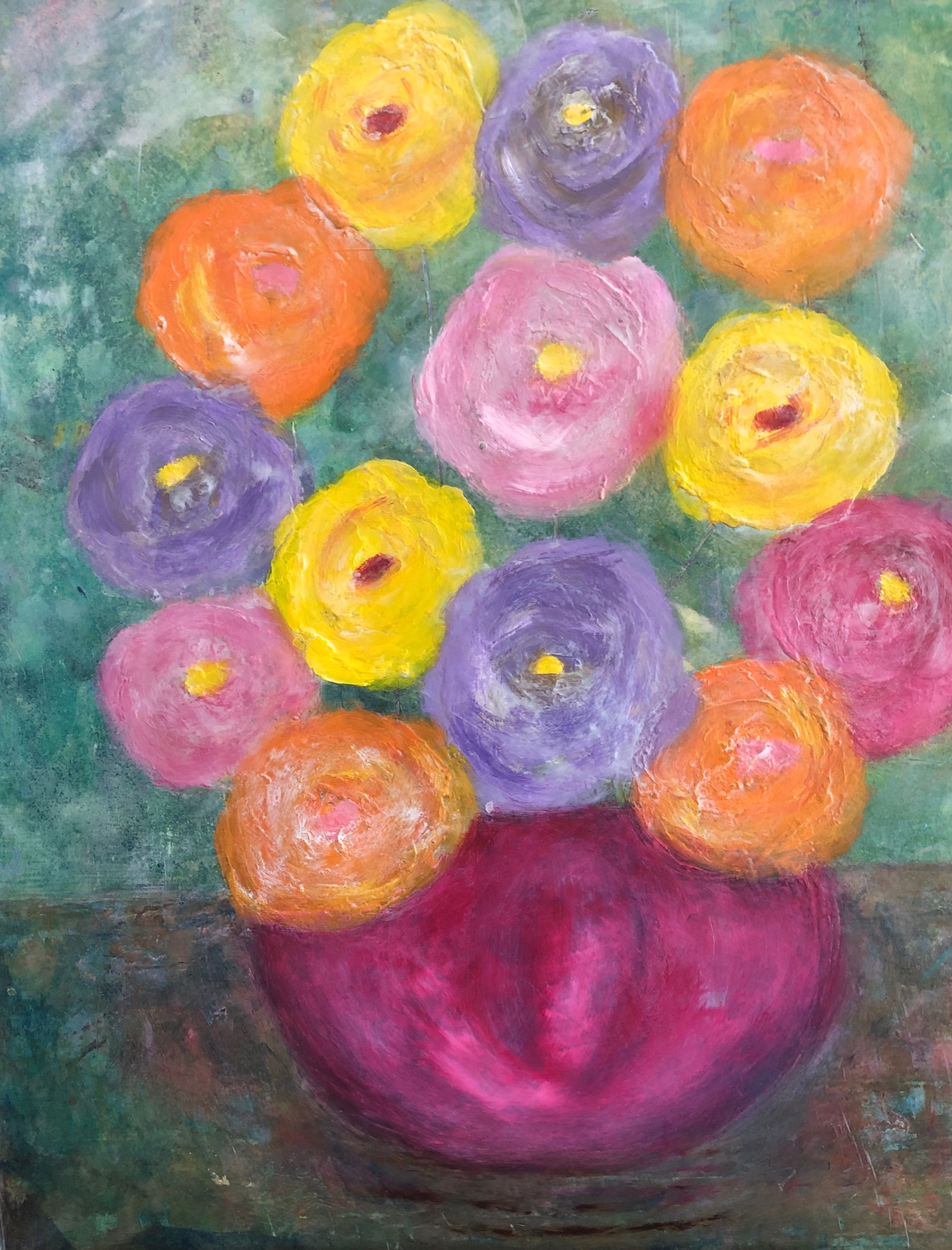 BRIGHT FLOWERS IN A PINK BOWL