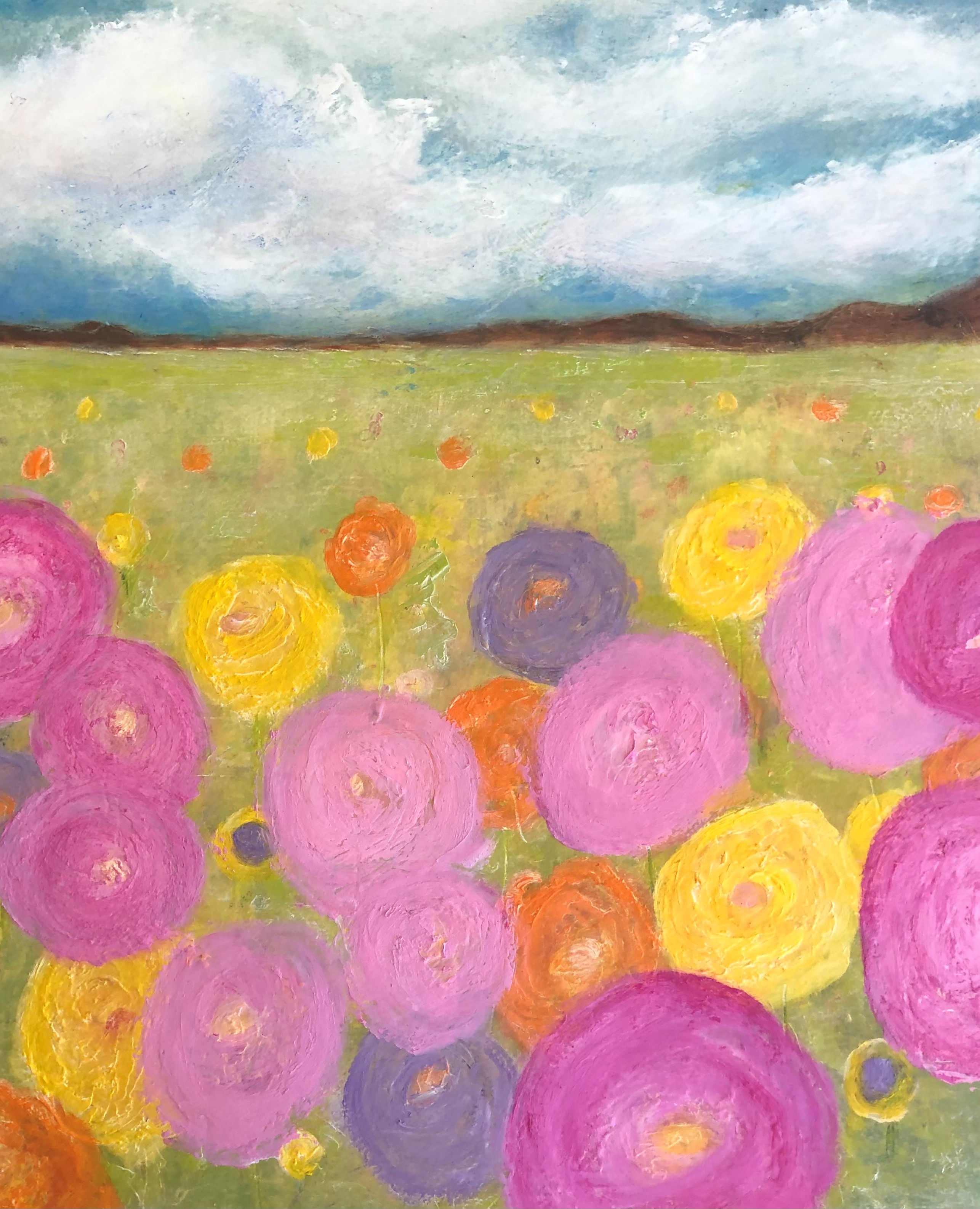 FIELD OF BRIGHT FLOWERS